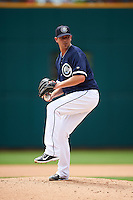 Columbus Clippers relief pitcher Jarrett Grube (46) during a game against the Lehigh Valley IronPigs on May 12, 2016 at Huntington Park in Columbus, Ohio.  Lehigh Valley defeated Columbus 2-1.  (Mike Janes/Four Seam Images)