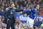 Everton manager David Moyes and Phil Neville of Everton during the Premier League match at Goodison Park  Stadium, Liverpool. Picture date 27th April 2008. Picture credit should read: Simon Bellis/Sportimage