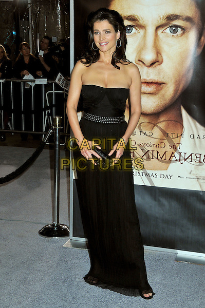 "JULIA ORMOND.""The Curious Case of Benjamin Button"" Los Angeles Premiere at Mann's Village Theatre, Westwood, California, USA..December 8th, 2008.full length black strapless dress long studs studded belt clutch bag .CAP/ADM/BP.©Byron Purvis/AdMedia/Capital Pictures."