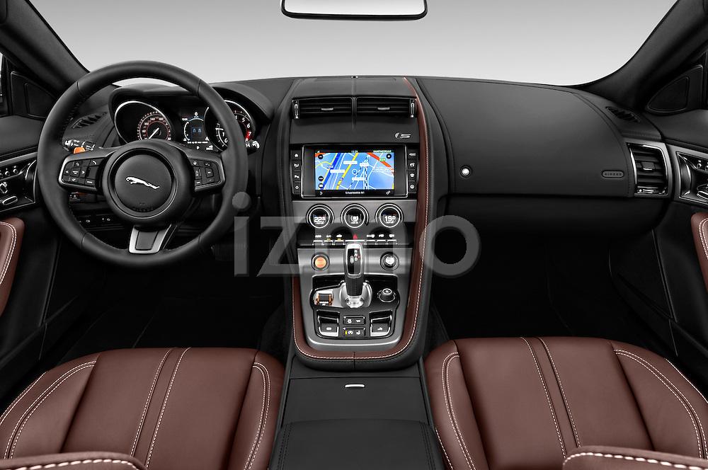 Stock photo of straight dashboard view of 2016 Jaguar F Type S 2 Door Convertible Dashboard