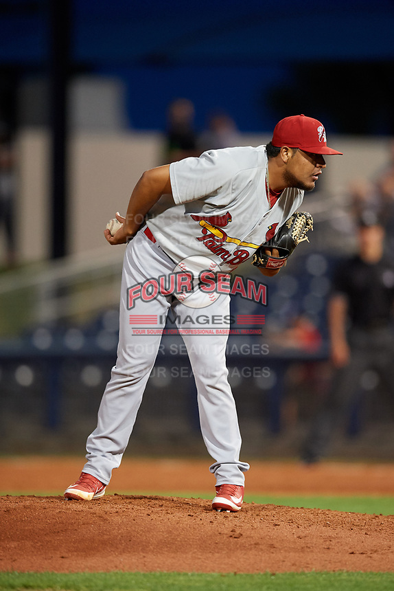Palm Beach Cardinals relief pitcher Jesus Cruz (43) looks in for the sign during a game against the Charlotte Stone Crabs on April 20, 2018 at Charlotte Sports Park in Port Charlotte, Florida.  Charlotte defeated Palm Beach 4-3.  (Mike Janes/Four Seam Images)