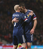 19th November 2019; Hampden Park, Glasgow, Scotland; European Championships 2020 Qualifier, Scotland versus Kazakhstan; Steven Naismith of Scotland celebrates with Declan Gallagher of Scotland after he puts Scotland into the lead, making it 2-1 in the 64th minute - Editorial Use