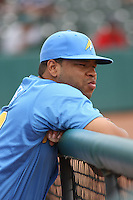 Michael Jones #29 of the Myrtle Beach Pelicans in the dugout during a game against the Lynchburg Hillcats on May 26, 2010 at BB&T Coastal Field in Myrtle Beach, SC.