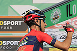 Vincenzo Nibali (ITA) Bahrain-Merida at sign on before the start of the 112th edition of Il Lombardia 2018, the final monument of the season running 241km from Bergamo to Como, Lombardy, Italy. 13th October 2018.<br /> Picture: Eoin Clarke | Cyclefile<br /> <br /> <br /> All photos usage must carry mandatory copyright credit (© Cyclefile | Eoin Clarke)
