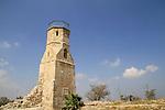 Israel, Southern Coastal Plain, the minaret of the Mamluk Mosque at Tel Yavne