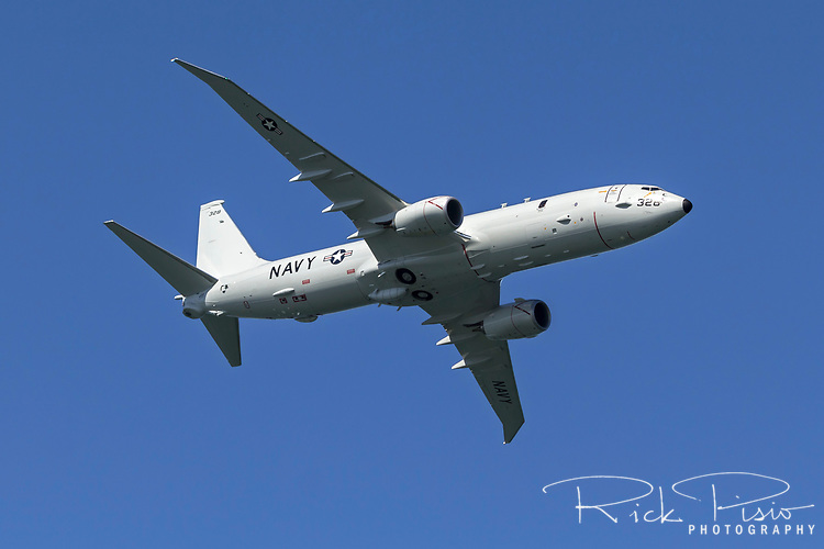 U.S Navy Boeing P-8 Poseidon in flight. Based on the Boeing 737 Next Generation the Poseidon operates in the anti-submarine warfare, anti-surface warfare and maritime patrol aircraft roles.