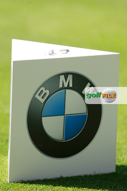 A tee marker during round 1 of the 2015 BMW PGA Championship over the West Course at Wentworth, Virgina Water, London. 21/05/2015<br /> Picture Fran Caffrey, www.golffile.ie: