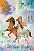 Interlitho, Luis, FANTASY, paintings, 3 horses, universe, KL, KL3586,#fantasy# illustrations, pinturas