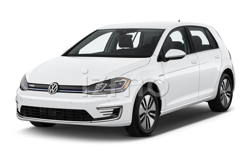 2019 Volkswagen e-Golf SEL Premium 5 Door Hatchback angular front stock photos of front three quarter view