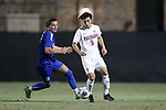 DURHAM, NC - NOVEMBER 25: Fordham's Andron Kagramanyan (CAN) (9) and Ciaran McKenna (SCO) (left). The Duke University Blue Devils hosted the Fordham University Rams on November 25, 2017 at Koskinen Stadium in Durham, NC in an NCAA Division I Men's Soccer Tournament Third Round game. Fordham advanced 8-7 on penalty kicks after the game ended in a 2-2 tie after overtime.
