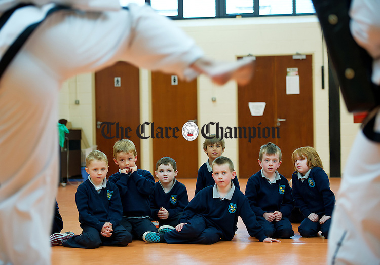 Junior infants learning about Tae Kwon Do as part of their Active Schools Week at St Flannan's  National School, Inagh. Photograph by John Kelly.