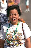 Woman enjoying the Asian American Festival age 27. Harriet Island St Paul Minnesota USA