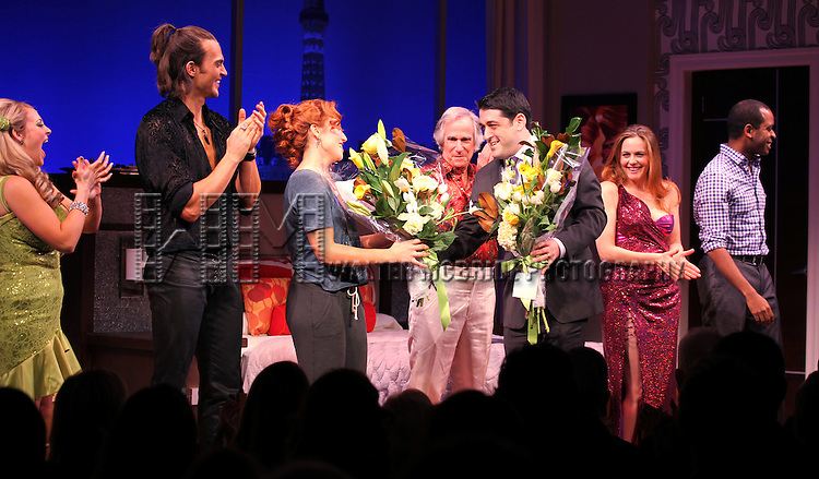 Jenni Barber, Cheyenne Jackson, Ari Graynor, Henry Winkler, Alicia Silverstone, Daniel Breaker with Evan Cabnet during the Broadway Opening Night Performance Curtain Call for 'The Performers' at the Longacre Theatre in New York City on 11/14/2012