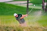 29 August 2009: Steve Marino hits out of a fairway bunker during the third round of The Barclays PGA Playoffs at Liberty National Golf Course in Jersey City, New Jersey.