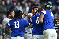 Courtney Lawes of England is involved as a fight breaks out between the two teams. Guinness Six Nations match between England and France on February 10, 2019 at Twickenham Stadium in London, England. Photo by: Patrick Khachfe / Onside Images