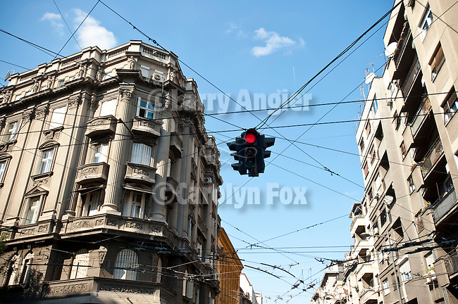Wires and overhead traffic signal along the streets of downtown old Belgrade, Serbia.