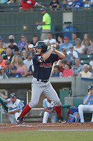 Salem Red Sox outfielder Ryan Scott (36) at bat during a game against the Myrtle Beach Pelicans at Ticketreturn.com Field at Pelicans Ballpark on June 8, 2018 in Myrtle Beach, South Carolina. Myrtle Beach defeated Salem 5-4. (Robert Gurganus/Four Seam Images)