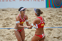 VADUZ, LIECHTENSTEIN, 10.08.2019- FIVB BEACH VOLLEYBALL WORLD TOUR:  Suzuka Hashimoto (D) e Sayaka Mizoe (E) do Japão durante a partida das quartas de final a contar para o torneio FIVB Beach Volleyball World Tour Star1 na Beacharena, em Vaduz, Liechtenstein, nesse sabado 10. (Foto: Bruno de Carvalho / Brazil Photo Press)