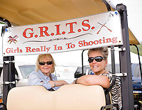 Mimi Wingfield and Sandy Nunnally show off their golfcart decor at Side by Side in Sanford, NC.