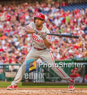 22 May 2015: Philadelphia Phillies outfielder Ben Revere in action during a game against the Washington Nationals at Nationals Park in Washington, DC. The Nationals defeated the Phillies 2-1 in the first game of their 3-game weekend series. Mandatory Credit: Ed Wolfstein Photo *** RAW (NEF) Image File Available ***