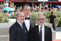 "VENICE, ITALY - September 01:  Javier Camara, Maurizio Lombardi and Silvio Orlando walk the red carpet of ""The New Pope"" screening during the 76th Venice Film Festival  on September 01, 2019 in Venice, Italy. (Photo by Mark Cape/Inside Foto)<br /> Venezia 01/09/2019"