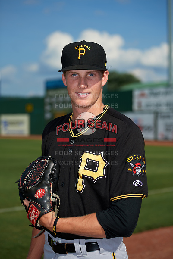 Bristol Pirates pitcher Vince Deyzel (55) poses for a photo before a game against the Elizabethton Twins on July 29, 2018 at Joe O'Brien Field in Elizabethton, Tennessee.  Bristol defeated Elizabethton 7-4.  (Mike Janes/Four Seam Images)
