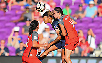 Orlando, FL - Saturday October 14, 2017: Jessica McDonald, Emily Menges during the NWSL Championship match between the North Carolina Courage and the Portland Thorns FC at Orlando City Stadium.