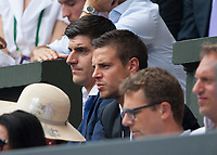 Chelsea Players Tibo Courtois and Cesar Azpilicueta on centre court for the Mens final against Roger Federer (SUI) and Marin Cilic (CRO), Wimbledon Championships 2017, Day 13, Mens Final, All England Lawn Tennis & Croquet Club, Church Rd, London, United Kingdom - 16th July 2017