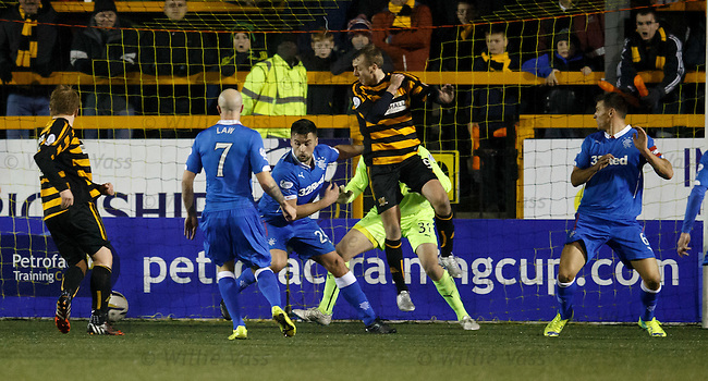 Greig Spence heads down for Ryan McCord to score the second goal to Alloa