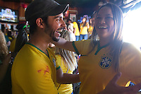 San Francisco, CA - Saturday, June 28, 2014: Brazil fans celebrate their victory over Chile in the second round of the World Cup oat Ireland's 32.