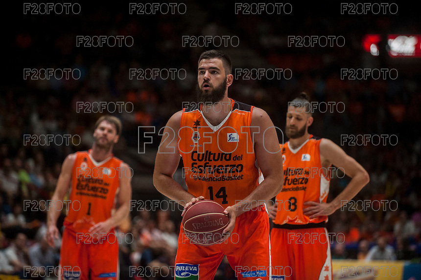 VALENCIA, SPAIN - MARCH 27: Bojan Dubljevic, Antoine Diop, Jon Stefanson during ENDESA LEAGUE Play Off match between Valencia Basket Club and Unicaja at Fonteta Stadium on March, 2016 in Valencia, Spain