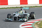 19.02.2013 Montmelo, Barcelona, Spain. Pre-seasson testing day 1. Picture show  Mercedes GP AMG F1, Nico Rosberg driving W04 at Circuit de Catalunya