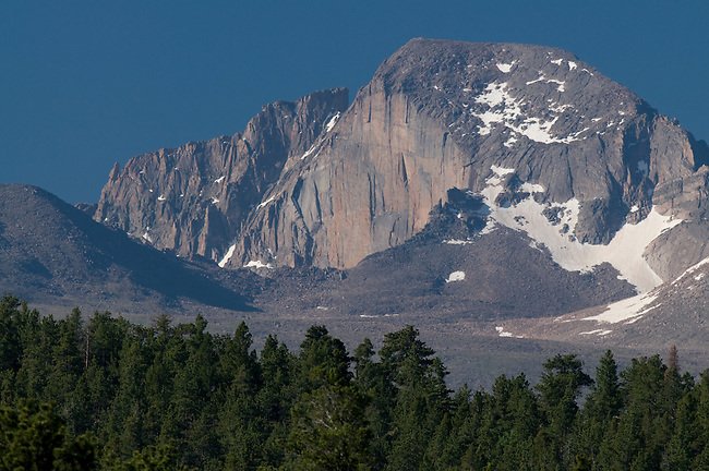 The Beaver and East Face, formations on Longs Peak, morning, Rocky Mountain National Park, Colorado, USA.