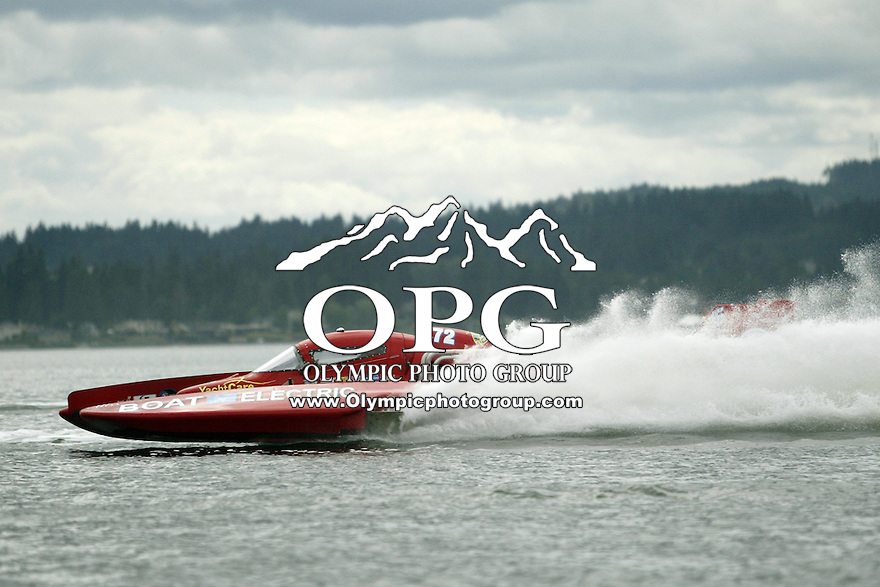 August 10, 2008 :   Kayleigh Perkins (right) driver of the UL-72 Miss Boat Electric hydro was the winner of the Silverdale Thunder Hydro races in Silverdale, Washington.  Perkins won the race for the second year in a row.