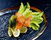 Romaine hearts with Gravlax and honey-dill-mustard vinaigrette dressing. Ingredients include salmon filet, dill, and lemon.