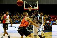 GRONINGEN - Basketbal, Donar - Feyenoord, Eredivisie, seizoen 2019-2020, 10-11-2019, Donar speler Vernon Taylor met Mock Bruining