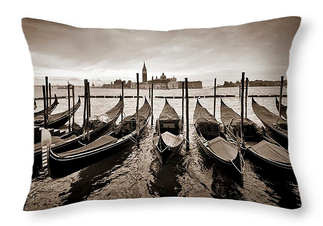 Gondolas in Venice at Dawn - Throw Pillow Sold on FAA.<br /> <br /> More products available at http://fineartamerica.com/profiles/paul-woodford.html<br /> <br /> to see more of our images from Italy - <br /> http://widescenes.photoshelter.com/gallery/Italy/G0000tmjFL0iSGKU/C0000Hkk_HG89Byc