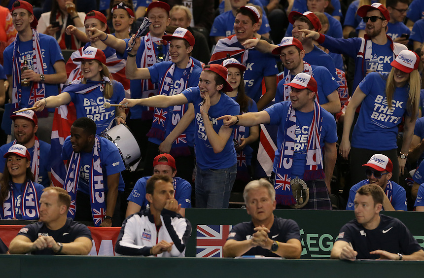 Great Britain fans support Andy Murray in and partner Jamie Murray during their doubles rubber against Kei Nishikori and Yasutaka Uchiyama today - Andy Murray and Jamie Murray (GBR) def Yoshihito Nishioka and Yasutaka Uchiyama (JPN) 6-3 6-2 6-4<br /> <br /> Photographer Stephen White/CameraSport<br /> <br /> International Tennis - 2016 Davis Cup by BNP Paribas - World Group First Round - Great Britain v Japan - Day 2 - Saturday 5th March 2016 - Barclaycard Arena, Birmingham, Great Britain<br /> <br /> &copy; CameraSport - 43 Linden Ave. Countesthorpe. Leicester. England. LE8 5PG - Tel: +44 (0) 116 277 4147 - admin@camerasport.com - www.camerasport.com.