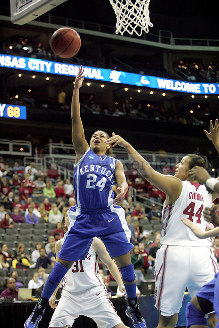 UK junior guard Amber Smith attempts two points near the end of UK's loss to the third-seed Oklahoma Sooners on Tuesday, March 30, 2010 during the Kansas City Regional Final at the Sprint Center in Kansas City, Mo. The Sooners defeated the Cats, 88-68. Photo by Allie Garza | Staff
