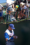 Paolo (Paul) Diego Salcido Baseball sports star Josh Hamilton at MLB game in Oakland signing baseballs fans
