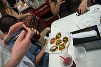 "Food conference attendees take the Mexican food tour of Boyle Heights, stopping at Guisados for tacos.<br /> Occidental College hosts the Oxy Food Conference, an annual meeting and conference for the Agriculture, Food and Human Values Society (AFHVS)/Association for the Study of Food and Society (ASFS). The event ran from June 14-17, 2017 and was organized by Oxy associate professor of sociology John Lang. This was the first time Oxy hosted this conference.<br /> More than 500 food scholars converged for one of the discipline's largest international conferences and the chance to discuss everything from sustainable agricultural and fisheries practices to the cultural significance of Basque-American ""picon punch.""<br /> (Photo by Marc Campos, Occidental College Photographer)"