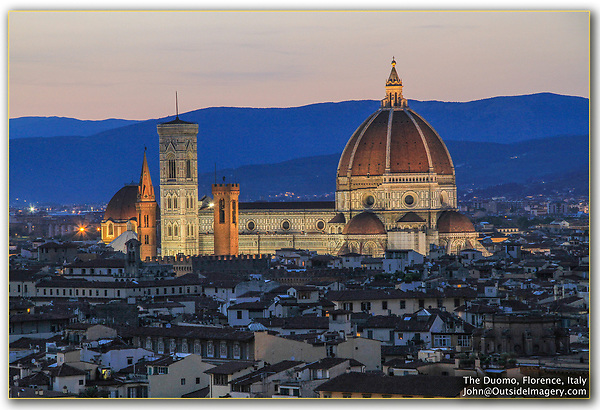 The Simplest Composition.<br /> What makes this image work is perfect timing. It's about twenty minutes after the sun dipped below the horizon.  There is still detail in the entire photo and the lights are very effective illuminating the Duomo. A little later, the foreground (buildings) and background (hills) will be black, with no detail. Florence, Italy.