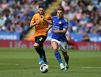 Leicester City's Harvey Barnes chased by Wolverhampton Wanderers' Matt Doherty <br /> <br /> <br /> <br /> Photographer Stephen White/CameraSport<br /> <br /> The Premier League - Leicester City v Wolverhampton Wanderers - Sunday 11th August 2019 - King Power Stadium - Leicester<br /> <br /> World Copyright © 2019 CameraSport. All rights reserved. 43 Linden Ave. Countesthorpe. Leicester. England. LE8 5PG - Tel: +44 (0) 116 277 4147 - admin@camerasport.com - www.camerasport.com