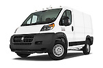 Stock pictures of low aggressive front three quarter view of a 2014 Ram ProMaster 1500 118 WB Low Roof 2 Door Cargo Van