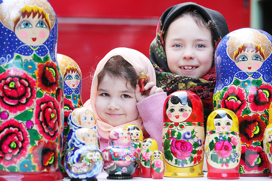 NO REPRO FEE. 6/3/2011. RUSSIAN CULTURAL FESTIVAL. Cousins Aynuna Ginyazova aged 5 and Roxanna Rakhmatullina aged 7 from Lucan, Co Dublin are pictured with babushka dolls at the Festival of Russian Culture family day at Cows Lane , Temple Bar, Dublin. Picture James Horan/Collins Photos