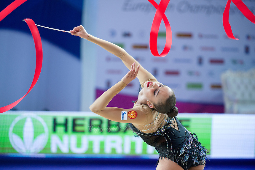 RITA MAMUN of Russia performs with ribbon at 2016 European Championships at Holon, Israel on June 18, 2016.