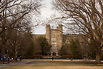 February 23, 2015. Durham, North Carolina.<br />  Students walk though one of the quads of Duke University's West Campus.