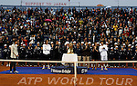 Tenis, Serbia Open 2011.Final.Novak Djokovic (SRB) Vs. Feliciano Lopez (ESP).Feliciano Lopez, Goran Djokovic,  Milica Markovic and Novak Djokovic, during ceremony.Beograd, 01.05.2011..foto: Srdjan Stevanovic