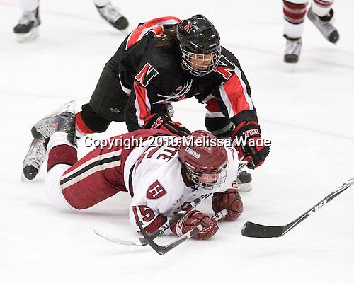 Rachel Llanes (NU - 11), Katharine Chute (Harvard - 15) - The Harvard University Crimson defeated the Northeastern University Huskies 1-0 to win the 2010 Beanpot on Tuesday, February 9, 2010, at the Bright Hockey Center in Cambridge, Massachusetts.