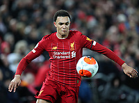 24th February 2020; Anfield, Liverpool, Merseyside, England; English Premier League Football, Liverpool versus West Ham United; Trent Alexander-Arnold of Liverpool controls the ball on the right wing